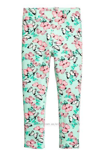 Треггинсы, леггинсы, брючки H&M для девочки, размер 5-6, 6-7 лет. Бабочки.