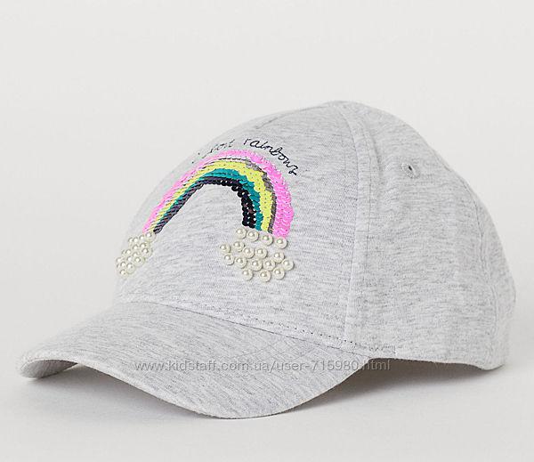 Бейсболка, кепка H&M для девочки, пайетки, бусинки, размер 4-8 лет.