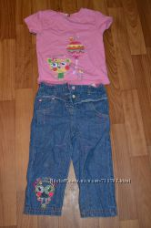 очень крутой комплект джинсы и футболка с кошечкой pretty kitty от minotti