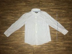 Рубашка 4-5 лет, 110 см, H&M , хлопок, белая в голубую полоску