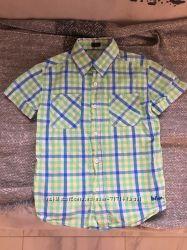 Рубашка летняя с коротким рукавом, 3-4 года, хлопок, длина- 49 см