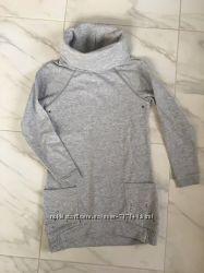Платье демисезонное тёплое серое 7-8 лет, 128 см фирма -River Island хлопок