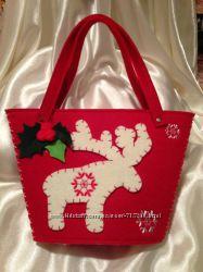 Подарочные сумочки красного и бежевого цвета