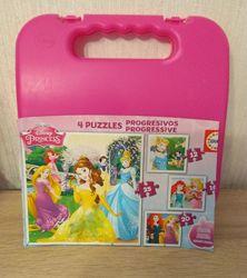 Чемоданчик, набор из 4-х пазлов Принцессы Disney