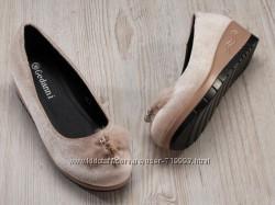 Туфли - балетки женские бежевые