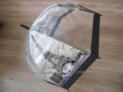 Зонт зонтик прозрачный трость, полуавтомат с принт