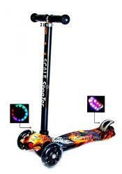 Самокат скутер колеса свет полиуретан Руль 65-89см, от 2х лет, 60кг