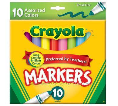 Фломастеры от Crayola 10 шт.  Крейола тонкие, классические цвета и Ассорти.