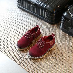 Удобные замшевые туфли разные цвета 21-35 размер ботинки мальчику, и девочк