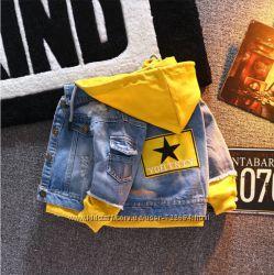 Хит сезона Джинсовая куртка с капюшоном, 2 цвета джинсовка, 80-130 см