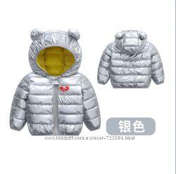 Яркие неоновые деми куртки с ушками разные цвета 80-120 см в наличии