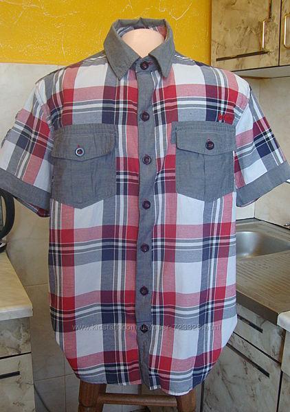 рубашка красно-серая Lee Cooper M 50котон, 50полиэстер