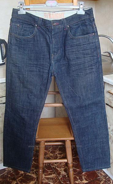джинсы синие Straight W34 L34 100котон