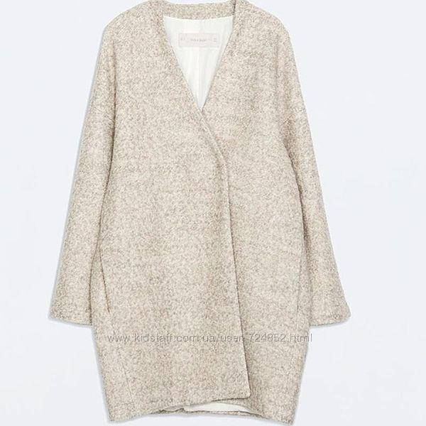 Крутое буклированное пальто кокон от zara размер м 48 шерсть