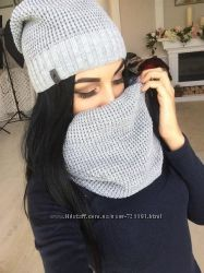 Комплект Шапка шарф хомут на флисе