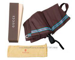 Элегантный женский зонт автомат Gucci коричневый система антиветер