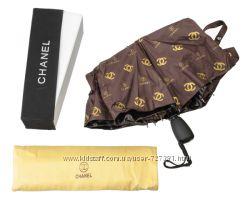 Женский зонт автоматический Шанель с системой антиветер брендированный