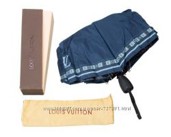 Шикарный женский зонт Louis Vuitton автомат антиветер синий брендированный