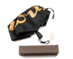 Шикарный женский зонт с автомат антиветер брендированный черный