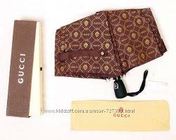 Шикарный женский зонт автомат Gucci брендированный ветронепроницаемый мокко