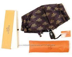 Стильный женский зонт Hermes автомат антиветер модный брендированный люкс