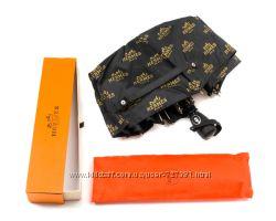 Элегантный женский зонт Hermes полуавтомат система антиветер брендированный