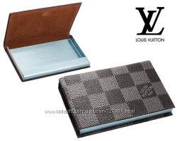 Элегантная женская визитница Louis Vuitton натуральная кожа брендированная
