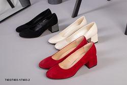 Элегантные туфли каблук 5,5 см.  Кожа, велюр.