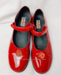 Красные итальянские кожаные туфли балетки Walkid 23 см 35 размер