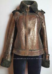 Модная теплая куртка из натуральной кожи мех ягненка в идеале М