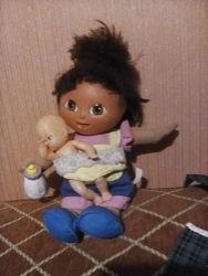 Кукла мягкая , мама с ребенком, на батарейках,