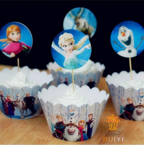 Праздничные обертки для кексов на сладкий стол Frozen