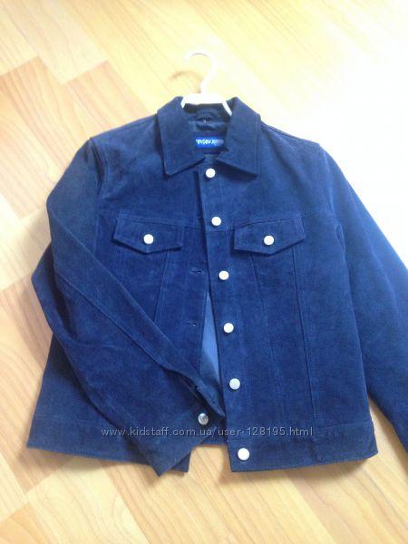 кожаная куртка, синяя, S. Review