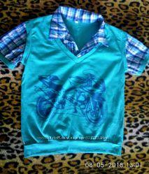 Рубашка футболка обманка летняя бирюзовая Мотоцикл новая красивая