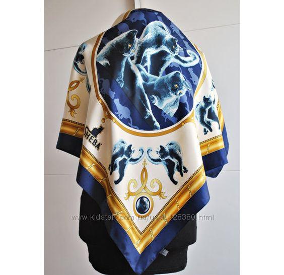 Брендовый шелковый платок в британских котах SHEBA, Италия