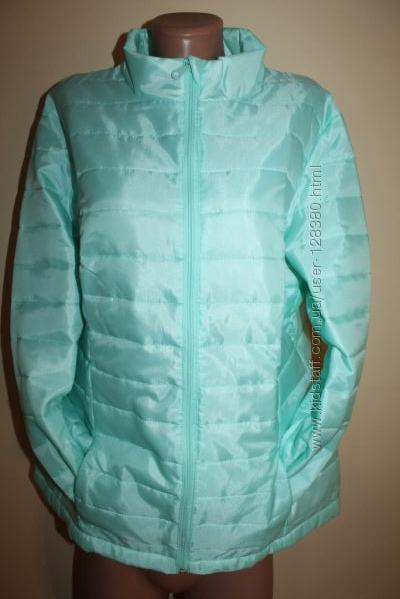2XL Стильная куртка мятного цвета стеганная
