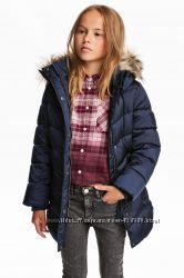Куртка зимняя удлиненная для девушки  H&M, р 14, рост 165-170