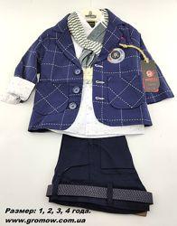 Детский нарядный костюм 1 2 3 года синий детские костюмы пиджак штаны рубаш