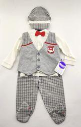 Костюм для новорожденного мальчика 6 месяцев трикотажный серый костюмчик