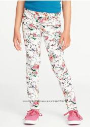 Джинсы, светлые брюки с цветочным орнаментом брюки Old Navy 10, 12 лет