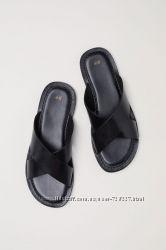 Новые мужские шлепанцы сандалии НМ, натуральная кожа, премиум качество.