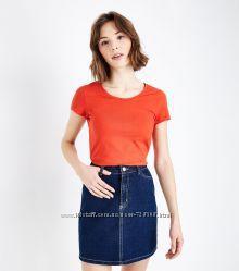 New Look. Товар из Англии. Оранжевая футболка с круглым вырезом. На наш р-р 46