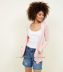 New Look. Кардиган с карманами в нежно-розовом марле.