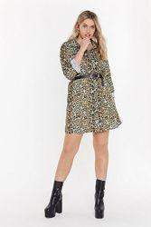 Nasty Gal. Товар из Англии. Платье рубашка в неоно-леопардовом принте.