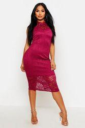Boohoo. Boutique. Товар из Англии. Кружевное платье в цвете бургунди.