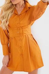 In the style. Товар из Англии. Платье рубашка с поясом в мустардовом цвете.