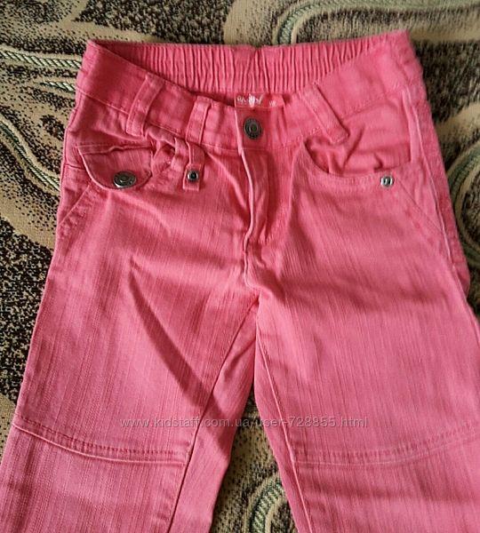 Коралловые джинсы, брюки Okay на девочку 5-6 лет. рост 116 см.