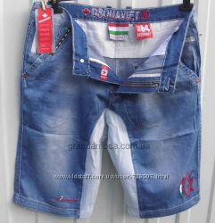 Бриджи молодежные джинсовые с вставками стрейчевого коттона  W30
