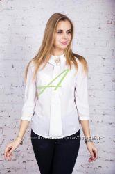 Модная и стильная женская блузка-рубашка, 42-48 р. 3 цвета пудра, электрик