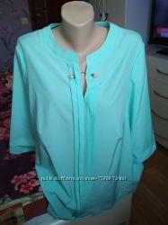 Модные и стильные женские блузки, размер 54 и 56. Цвет бирюза и пудра.